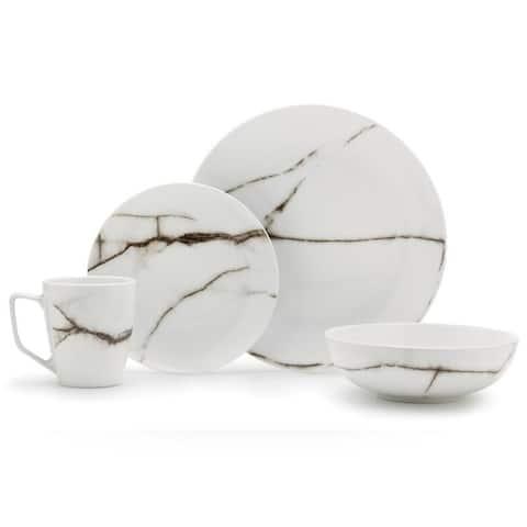 16 Piece Dinnerset - Marble Porcelain
