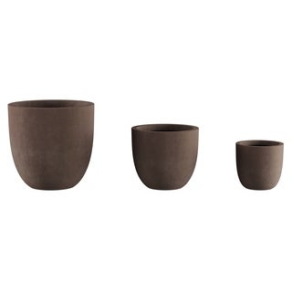 Set of 3 Fiber Clay Planters- Round Outdoor Potting and Replanting Pots Weather Resistant with Drainage Holes by Pure Garden