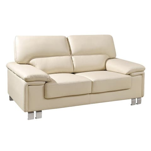 Contemporary Faux Leather Upholstered Stationary Loveseat