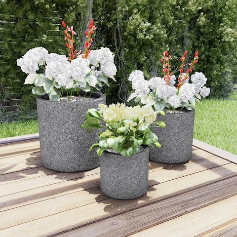 Fiber Clay Planters  Modern Marbled Gray Cylinder Potting and Replanting Pots with Drainage Holes by Pure Garden (Set of 3)