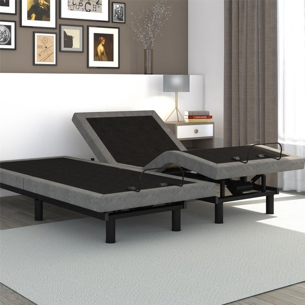 Signature Sleep Power Adjustable Bed with Foundation in Grey Linen in Twin XL