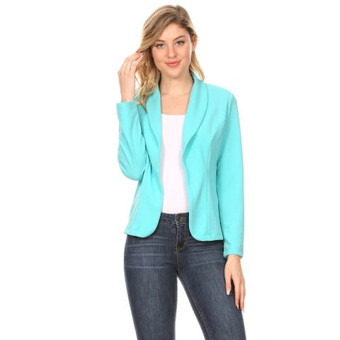 Women's Solid Casual Office Work Long Sleeve Open Front Blazer Jacket