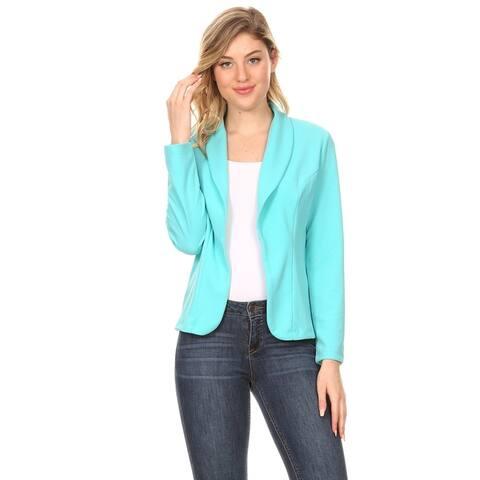 Women's Solid Casual Office Work Long Sleeve Open Front Blazer Jacket