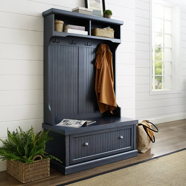 Shop Seaside Hall Tree In Distressed Navy Finish Free