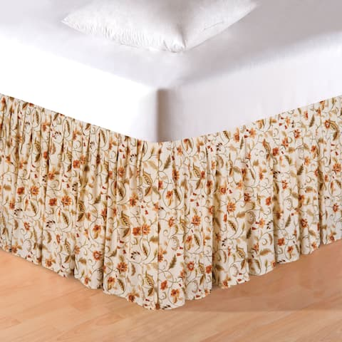 Amelia Ruffled Floral Cotton Bed Skirt