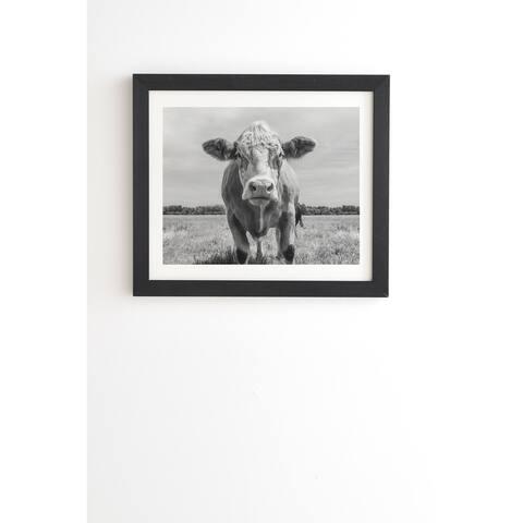Deny Designs Cow Portrait Framed Wall Art (3 Frame Colors) - Black