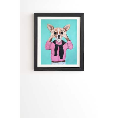 Deny Designs Chihuahua Looking Framed Wall Art (3 Frame Colors) - Blue