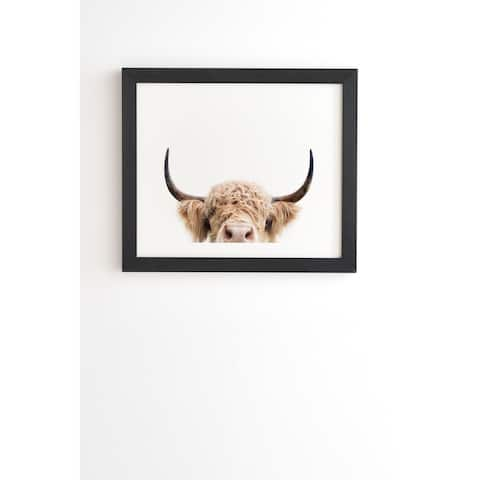 Deny Designs Peeking Cow Framed Wall Art (3 Frame Colors) - Brown/White