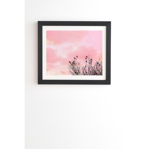 Deny Designs Sunset and Birds Framed Wall Art (3 Frame Colors) - Pink