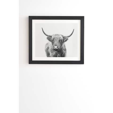 Deny Designs Highland Bull Framed Wall Art (3 Frame Colors) - Grey/White