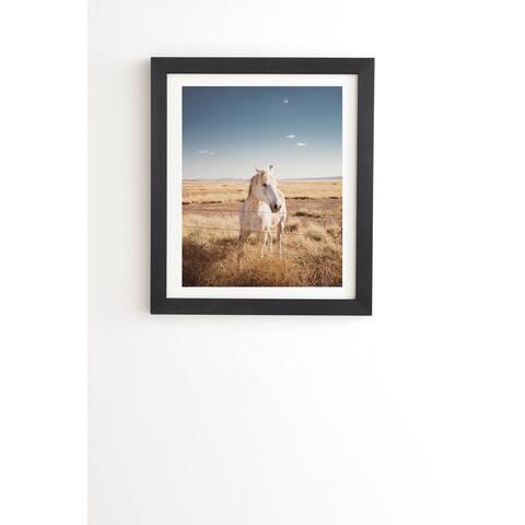 Deny Designs White Horse Framed Wall Art (3 Frame Colors) - Blue