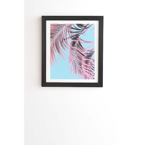 Deny Designs Pink Palm Leaves Framed Wall Art (3 Frame Colors) - Blue