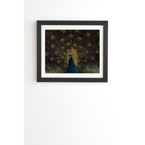 Deny Designs Peacock Framed Wall Art (3 Frame Colors) - Blue/Brown