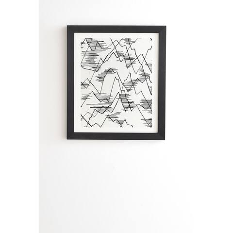 Deny Designs Sketched Mountains Framed Wall Art (3 Frame Colors) - Black