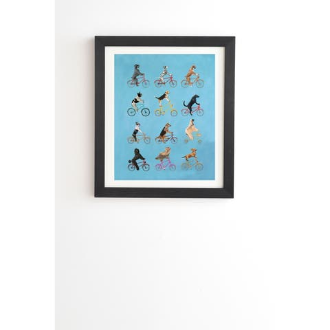 Deny Designs Cycling Dogs Framed Wall Art (3 Frame Colors) - Blue