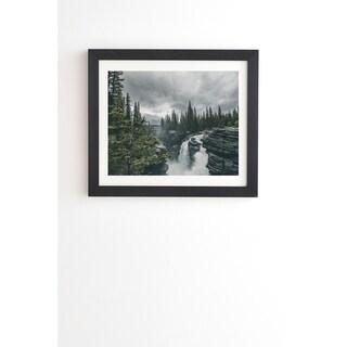 Deny Designs Athabasca Falls Framed Wall Art (3 Frame Colors) - Grey/Green