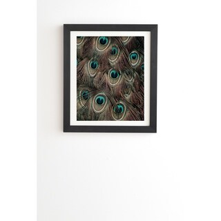Deny Designs Peacock Feathers Framed Wall Art (3 Frame Colors) - Blue/Brown