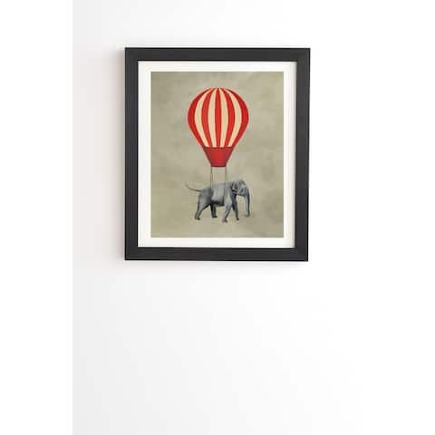 Deny Designs Elephant Hot Air Balloon Framed Wall Art (3 Frame Colors) - Grey