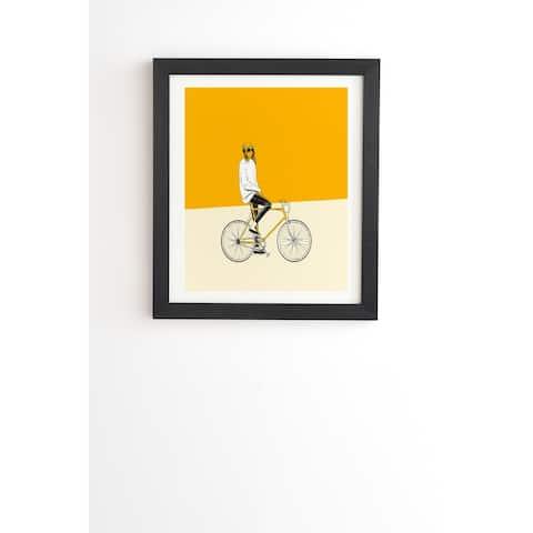 Deny Designs Yellow Bike Girl Framed Wall Art (3 Frame Colors)