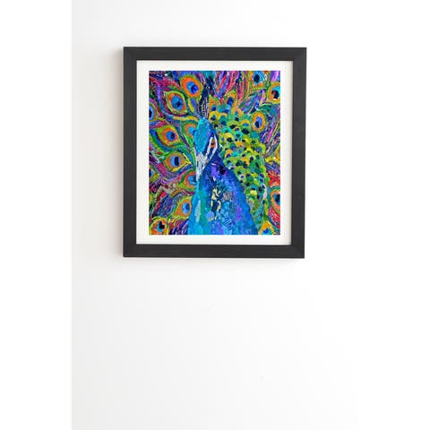 Deny Designs Peacock Drawing Framed Wall Art (3 Frame Colors) - Blue/Multi-Color