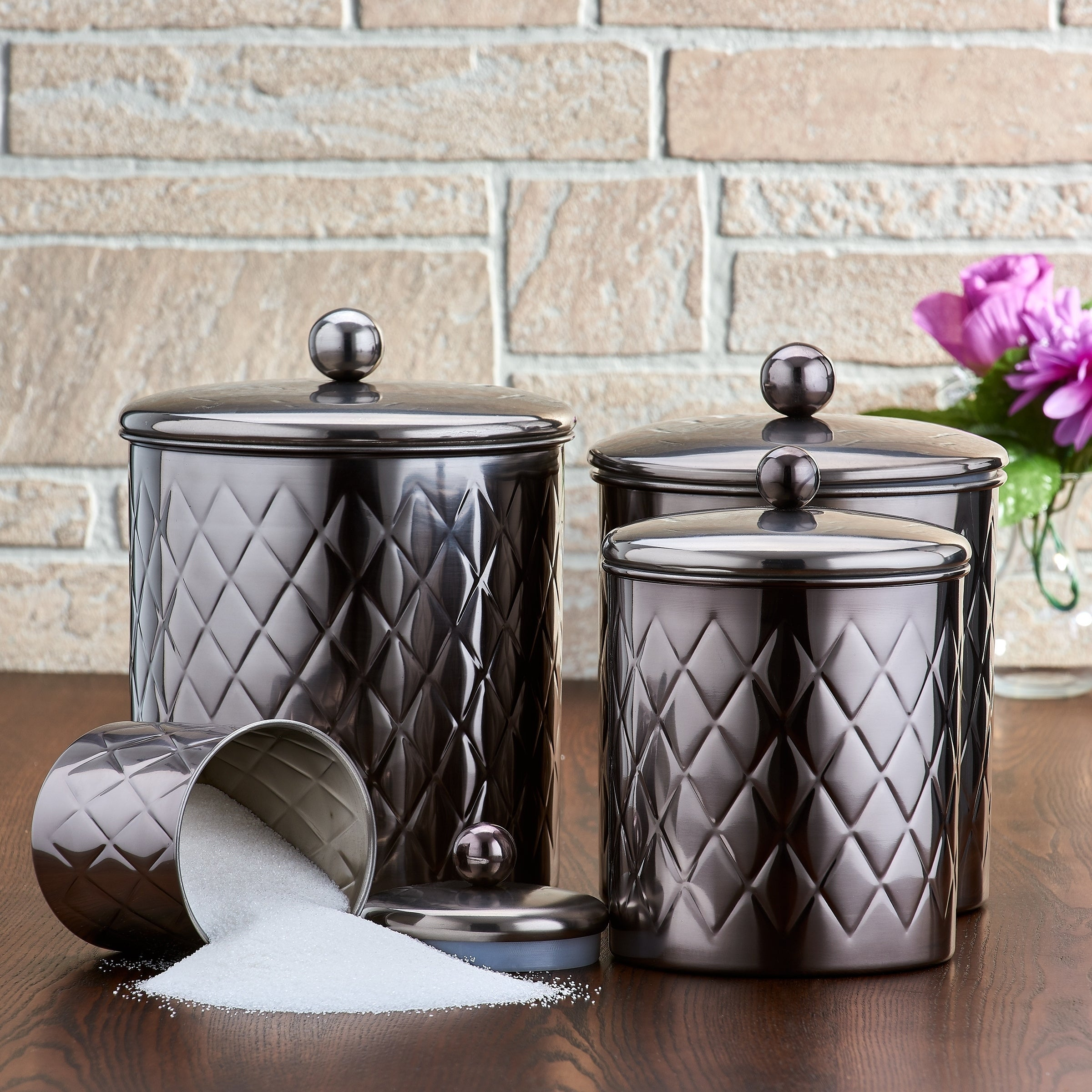 4 Pc Black Mirror Embossed Diamond Canister Set 4 Qt 3 Qt 2 Qt Qt Overstock 27177686