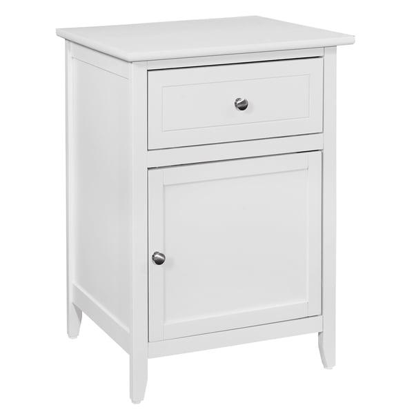 LYKE Home White 1 Drawer /1 Door Nightstand