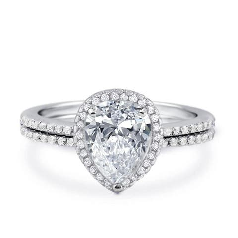 Pear CZ Halo Solitaire Engagement Wedding Ring Set, Rhodium Plating