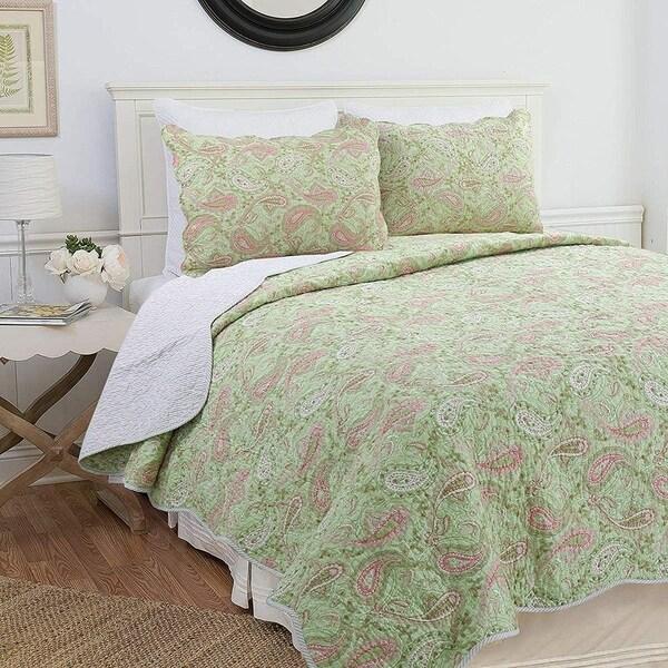 Cozy Line Natalia 3-Piece Floral Reversible Cotton Quilt Set