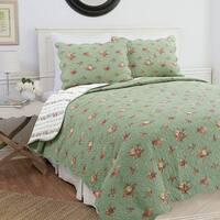 Cozy Line Kylie 3-Piece Floral Reversible Cotton Quilt Set