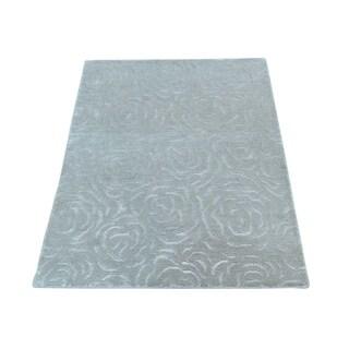 "Shahbanu Rugs Silver Nepali Wool and Silk Hand-Knotted Oriental Rug (2'0"" x 2'10"") - 2'0"" x 2'10"""