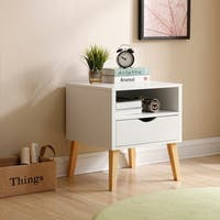 Mid-Century Modern Jeff Night Stand End Table White Wood Bedside Table