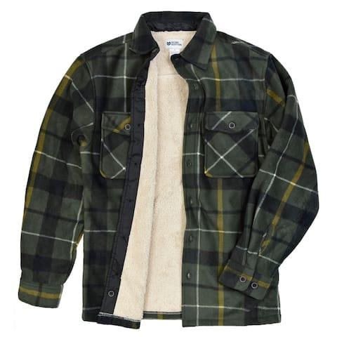 Men's Button Front Sherpa Lined Fleece Shirt Jacket