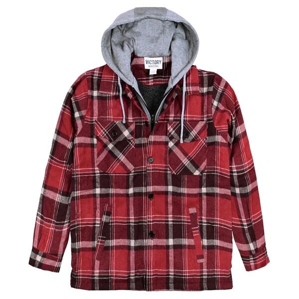 Men's Button-Front Flannel Shirt Jacket
