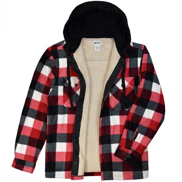 Men's Printed Fleece Button-up Jacket With Hood
