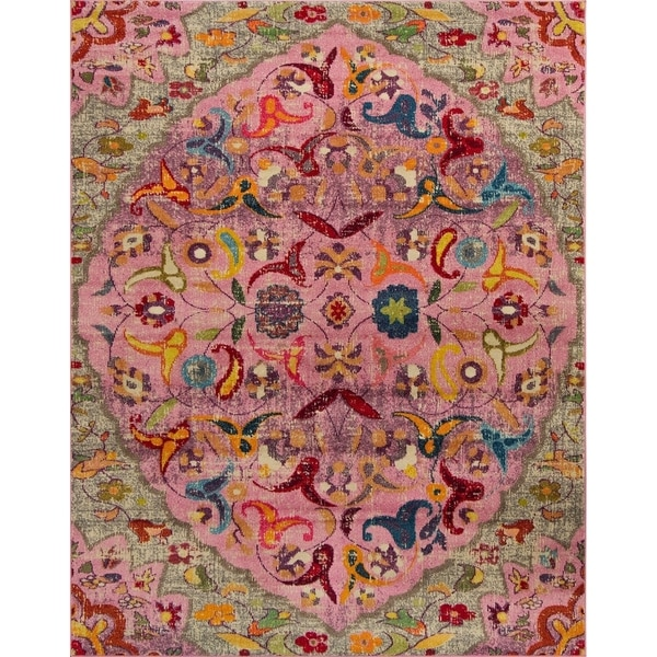Shop Noori Rug Distressed Sapphire Pink Red Rug Free Shipping