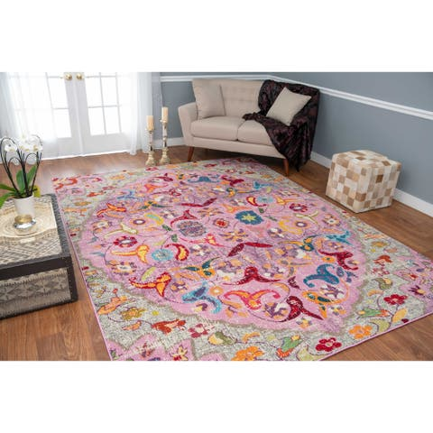 The Curated Nomad Rincon Floral Distressed Pink/ Red Rug