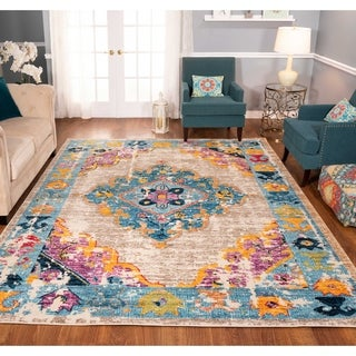 The Curated Nomad Rincon Distressed Beige/ Blue Rug