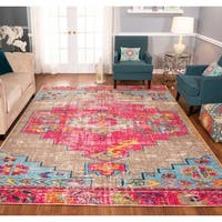 The Curated Nomad Rincon Distressed Beige/ Pink/ Blue Rug