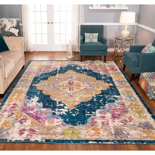 The Curated Nomad Rincon Distressed Beige Medallion Rug