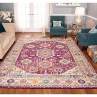 The Curated Nomad Rincon Medallion Distressed Purple/ Ivory Rug