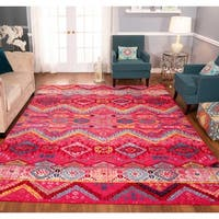 The Curated Nomad Rincon Tribal Distressed Fuchsia/ Blue Rug