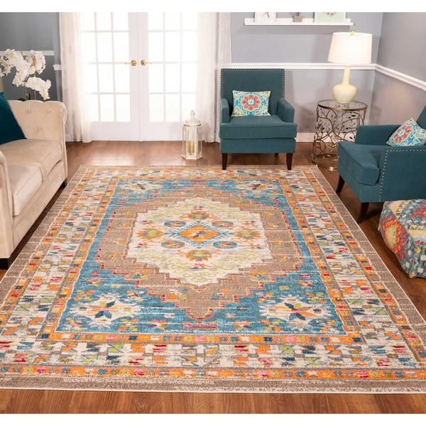 The Curated Nomad Rincon Floral Geo Distressed Brown/ Blue Rug