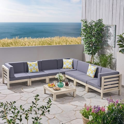 Oana Outdoor 7 Seater Acacia Wood Sectional Sofa Set by Christopher Knight Home