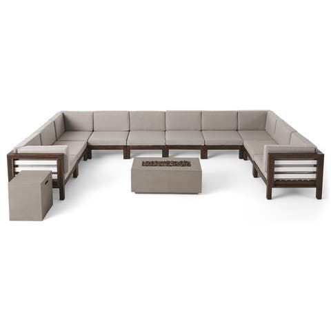 Oana Outdoor 10-Seater U-Shaped Acacia Wood Sectional Sofa Set with Fire Pit by Christopher Knight Home