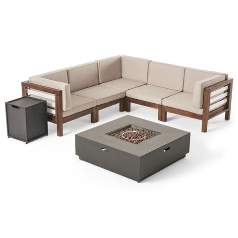 Malawi Outdoor 5-Seater V-Shaped Acacia Wood Sectional Sofa Set with Fire Pit by Christopher Knight Home