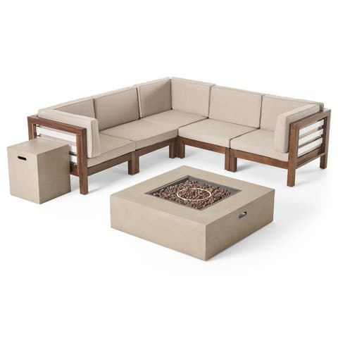 Oana Outdoor 5-Seater V-Shaped Acacia Wood Sectional Sofa Set with Fire Pit by Christopher Knight Home
