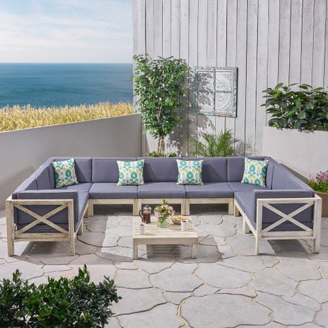 Brava Outdoor 9 Seater Acacia Wood Sectional Sofa Set by Christopher Knight Home