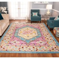 The Curated Nomad Rincon Floral Geo Distressed Blue/ Purple Rug