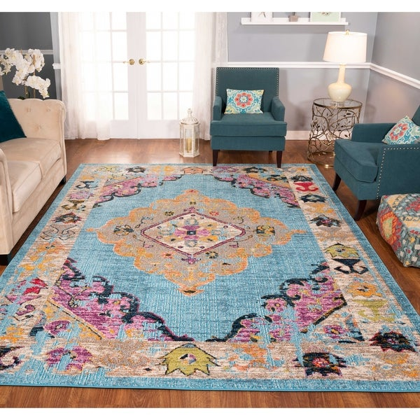 The Curated Nomad Rincon Distressed Floral Medallion Rug