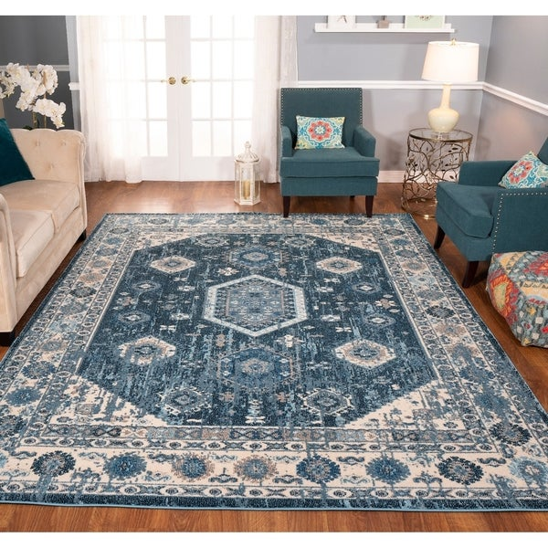 The Curated Nomad Rincon Distressed Blue Oriental Rug
